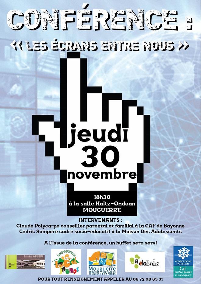 Mouguerre Jeunesse : Conférence «les écrans entre nous» le 30 Novembre à 18h 30 Salle Haitz Ondoan