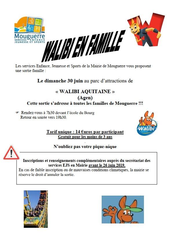 Mouguerre Jeunesse : Sortie Familles à Walibi – Dimanche 30 juin